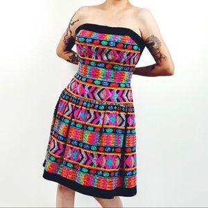 Vintage AJ Bari Silk Dress | Colorful Party Dress